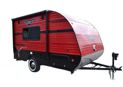 135 red and black mini camper